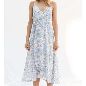 Hem & Thread Striped Floral Wrap Dress